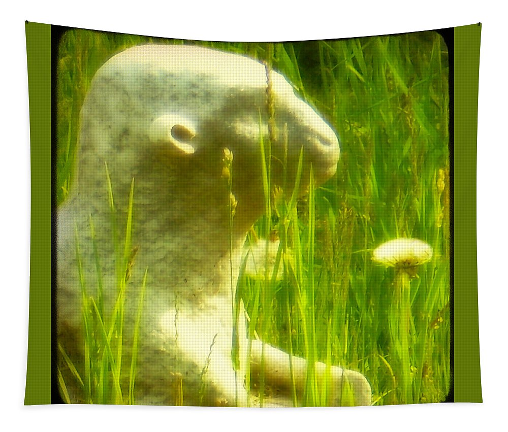 Stone Lamb Tapestry featuring the photograph In The Weeds by Gothicrow Images