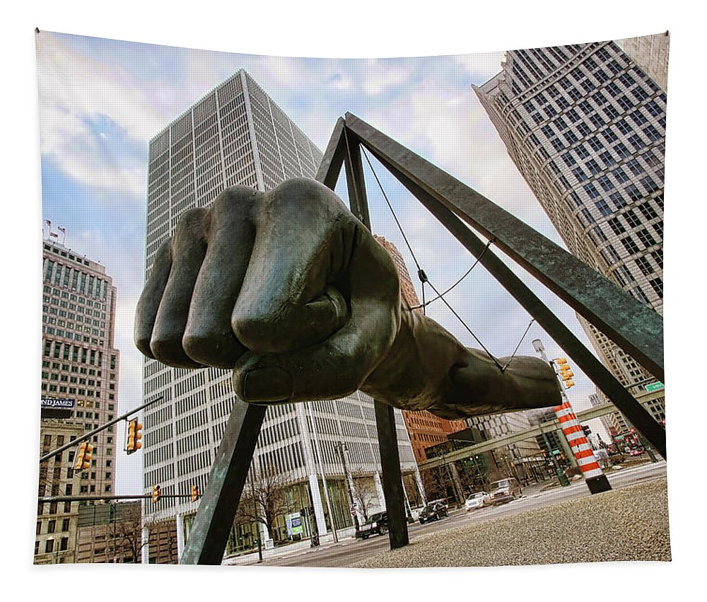 Joe Tapestry featuring the photograph In Your Face - Joe Louis Fist Statue - Detroit Michigan by Gordon Dean II