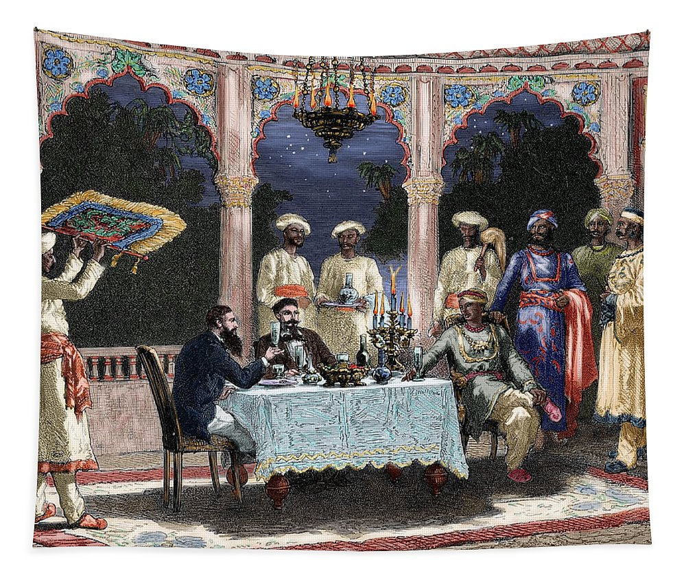 19th Century Tapestry featuring the drawing India British Colonial Era Banquet At The Palace Of Rais In Mynere by Hildibrand