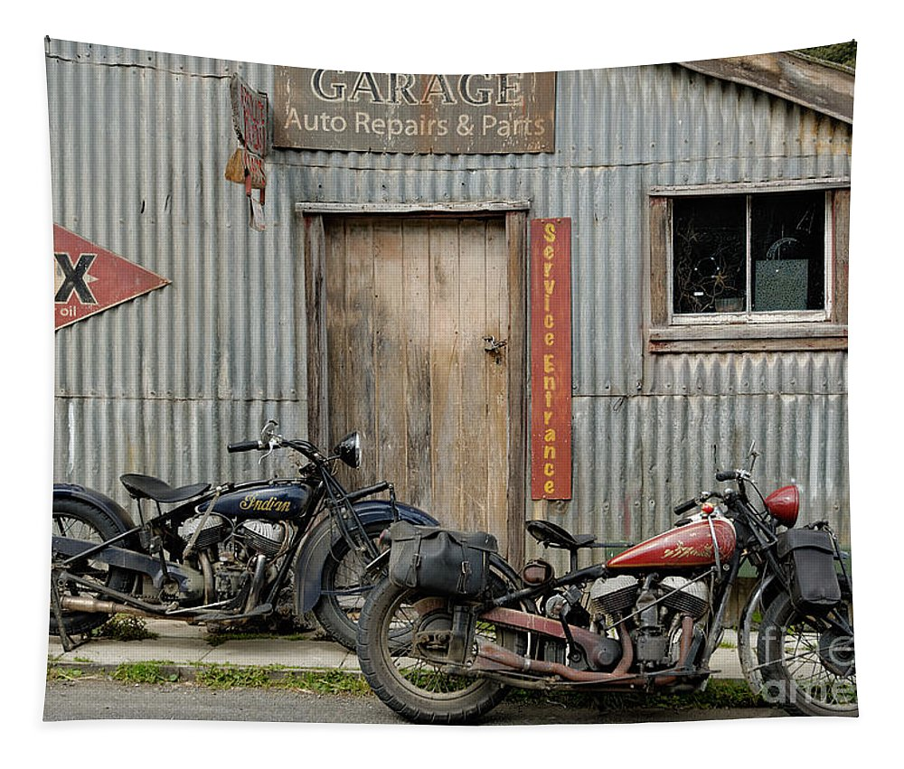 Classic Tapestry featuring the photograph Indian Chout And Chief Bobber At The Old Okains Bay Garage by Frank Kletschkus