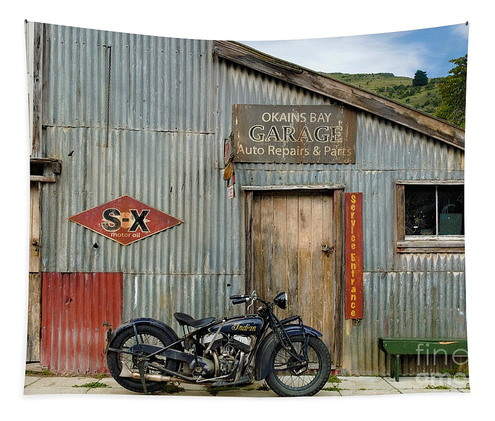 Classic Tapestry featuring the photograph Indian Chout At The Old Okains Bay Garage 1 by Frank Kletschkus