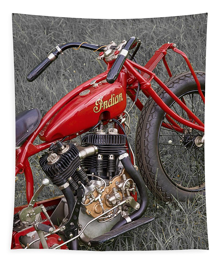 Motorcycle Tapestry featuring the photograph Indian Hillclimber Sv by Frank Kletschkus