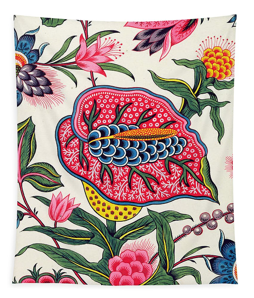 C18th; C19th; Flowers; Floriated; Floral; Pattern; Design; Colourful; Vibrant; Fabric; Tournemine; Tournemine-les-angers; Manufacture; Wallpaper; Wall Design; Interior; Interior Design; Patterns; Ornament; Ornamental; Ornate; Color; Colors; Bold; Bright; Pink; White; Green; Blue; Yellow; Orange; Flower; Indian; Lemeunnie; Peter Lemeunnie; Endpaper; Marbled Paper; French; Decoration; Decor; Decorative Tapestry featuring the painting Indian Model by Peter Lemeunnie