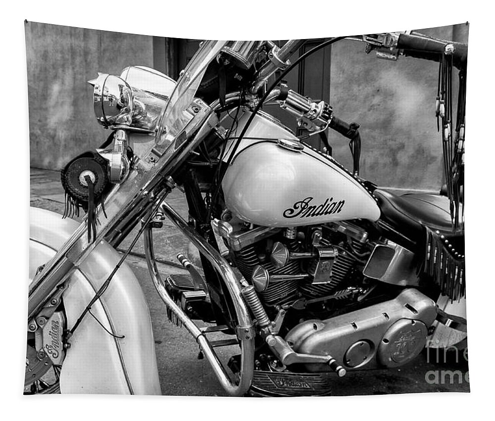Motorcycle Tapestry featuring the photograph Indian Motorcycle In French Quarter-bw by Kathleen K Parker