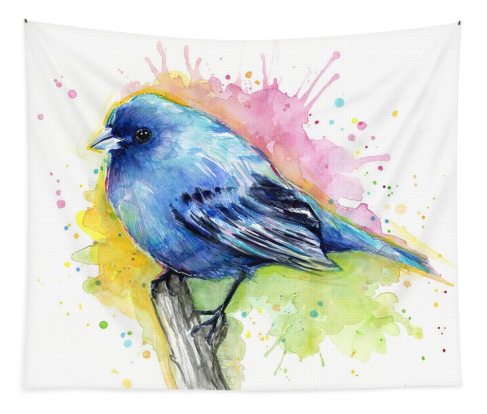 Blue Tapestry featuring the painting Indigo Bunting Blue Bird Watercolor by Olga Shvartsur