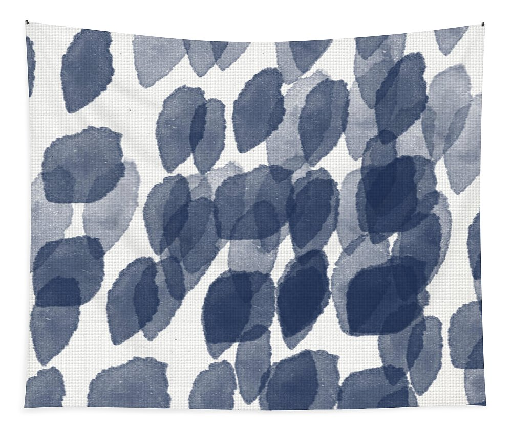 Abstract Painting Tapestry featuring the mixed media Indigo Rain- abstract blue and white painting by Linda Woods