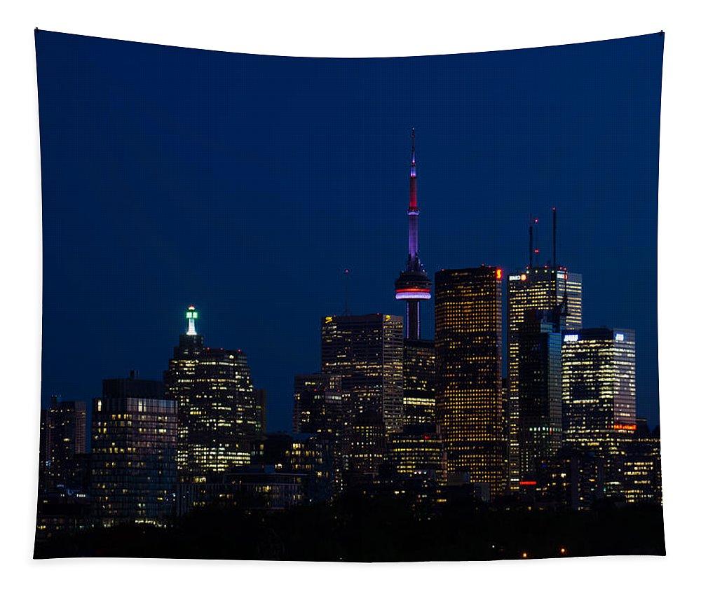 Toronto Tapestry featuring the photograph Indigo Sky And Toronto Skyline by Georgia Mizuleva