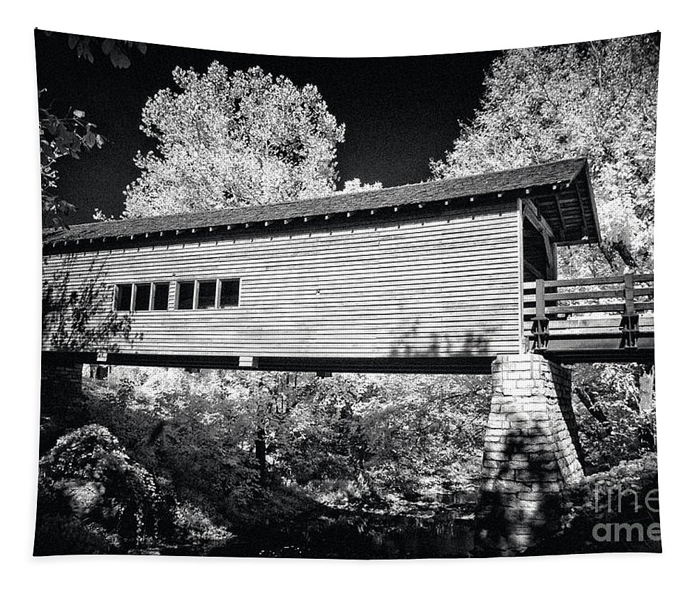 Country Tapestry featuring the photograph Infrared Covered Bridge by Paul W Faust - Impressions of Light
