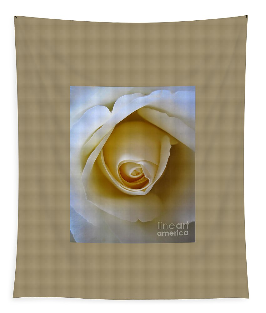 Floral Tapestry featuring the photograph Innocence White Rose 5 by Tara Shalton