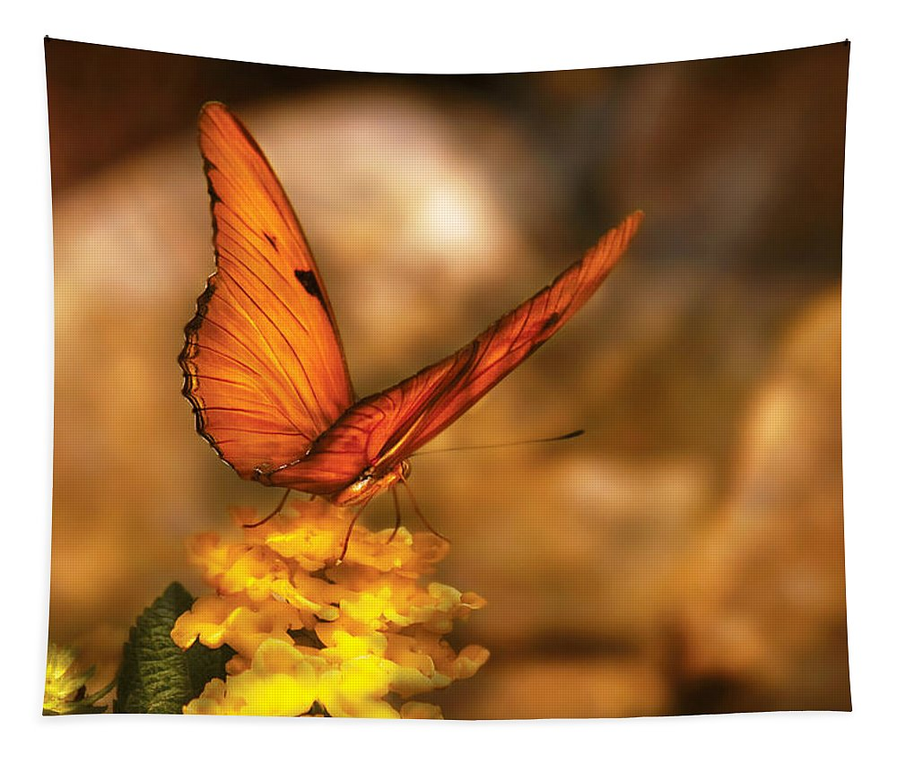 Julia Heliconian Tapestry featuring the photograph Insect - Butterfly - Just A Bit Of Orange by Mike Savad