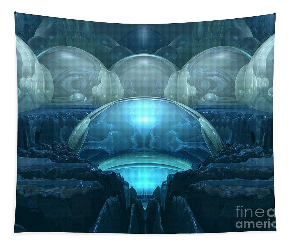 Digital Art Tapestry featuring the digital art Inside A Blue Moon by Phil Perkins