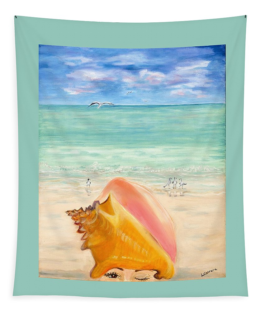 Key West Tapestry featuring the painting Inside The Head Of A Conch Woman by Linda Cabrera
