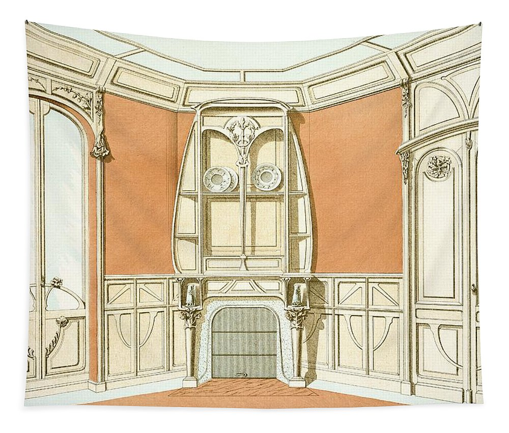 Art Nouveau Tapestry featuring the drawing Interior Design For A Dining Room by F. Barabas