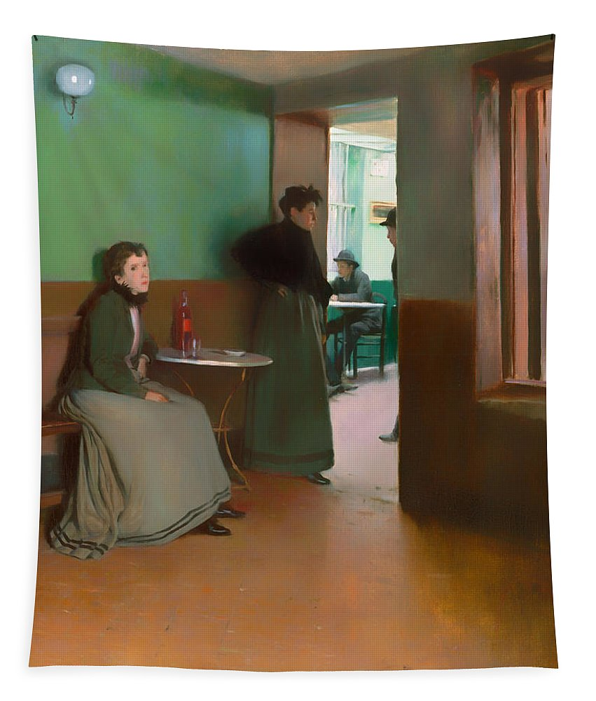 Painting Tapestry featuring the painting Interior Of A Cafe by Mountain Dreams