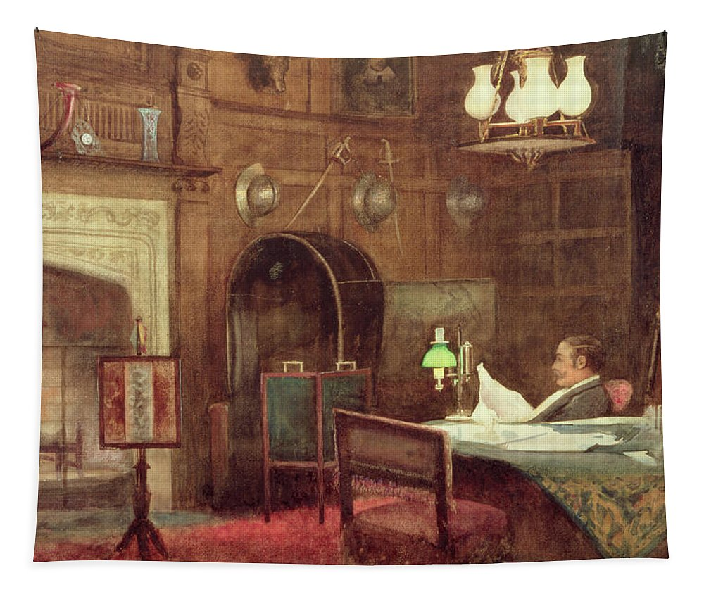 Baronial Tapestry featuring the painting Interior Of A Panelled Hall by Alfred J. Warne Brown