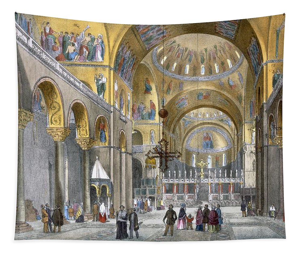 Architecture Tapestry featuring the drawing Interior Of San Marco Basilica, Looking by Italian School