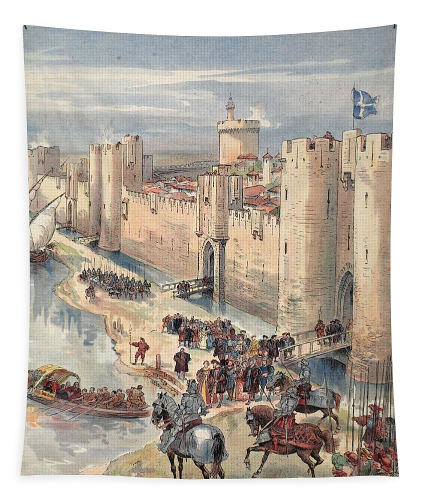 France Tapestry featuring the drawing Interview Of Aigues-mortes by Albert Robida
