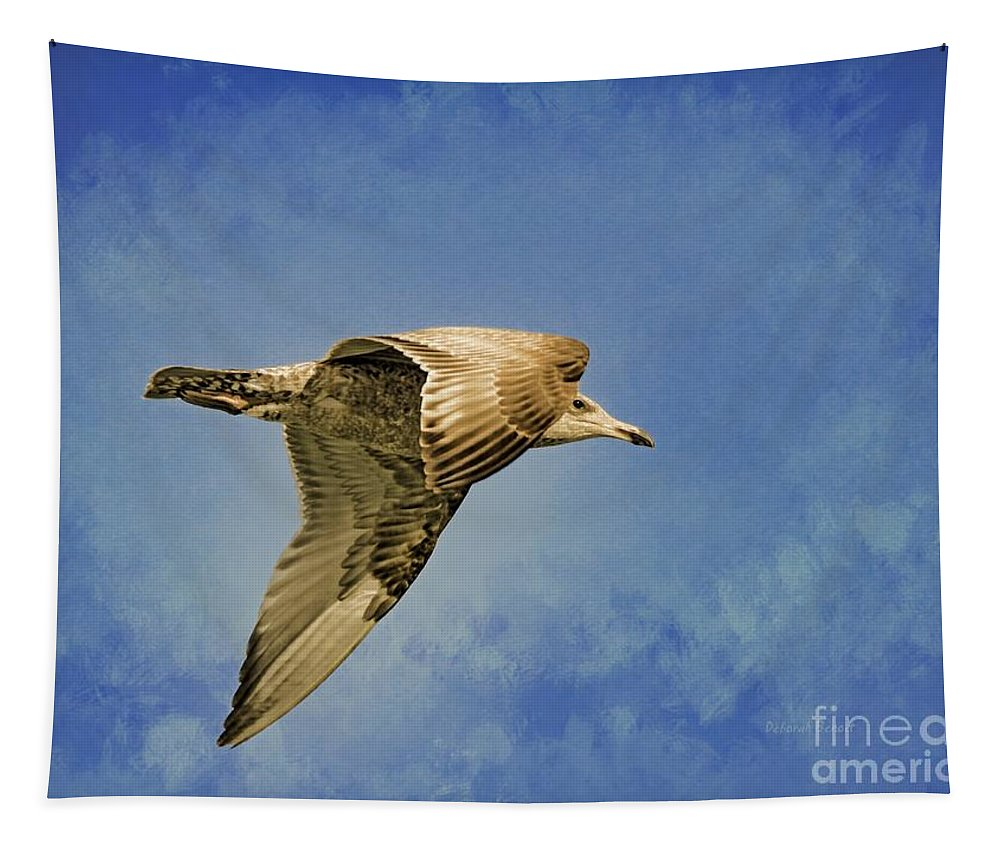 Seagull Tapestry featuring the photograph Into The Blue by Deborah Benoit