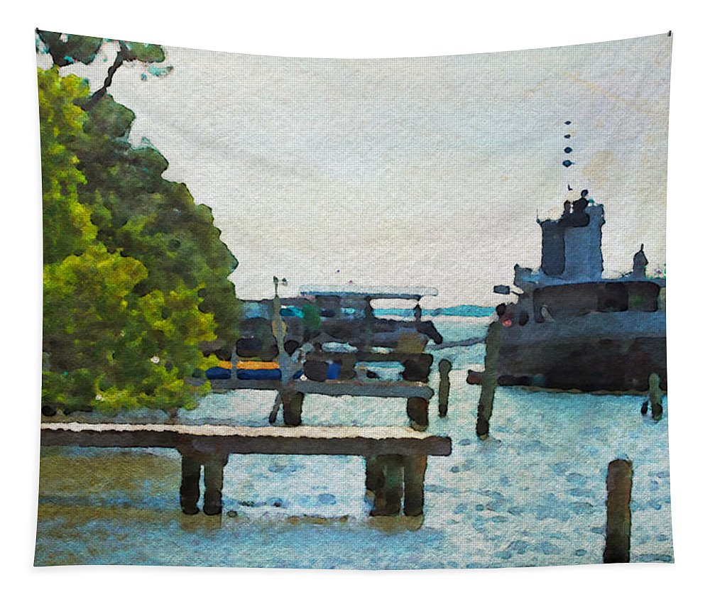 Intracoastal Tapestry featuring the photograph Intracoastal Ship by Alice Gipson