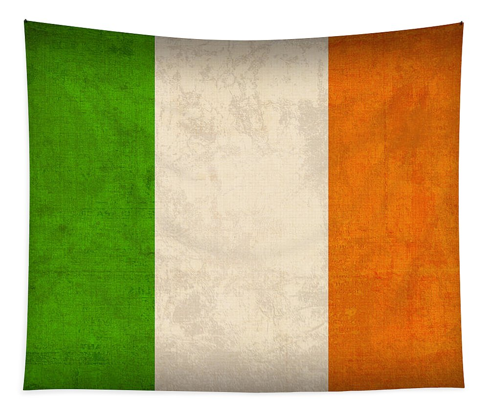 Ireland Flag Vintage Distressed Finish Dublin Irish Green Europe Luck Tapestry featuring the mixed media Ireland Flag Vintage Distressed Finish by Design Turnpike