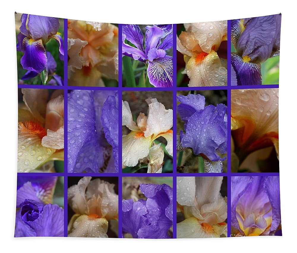 Iris Tapestry featuring the photograph Iris Collage by Carol Groenen