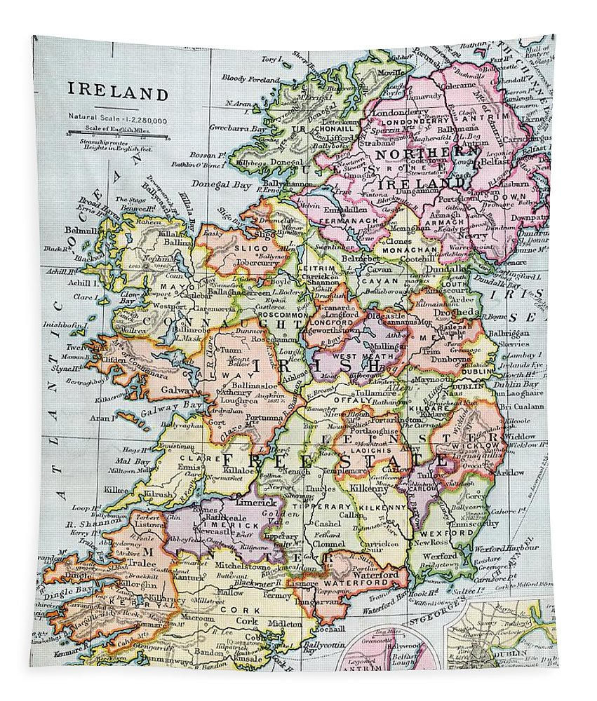 Map; Mapping; Cartography; Grid; Scale; Territory; Island Tapestry featuring the painting Irish Free State and Northern Ireland from Bacon s Excelsior Atlas of the World by English School