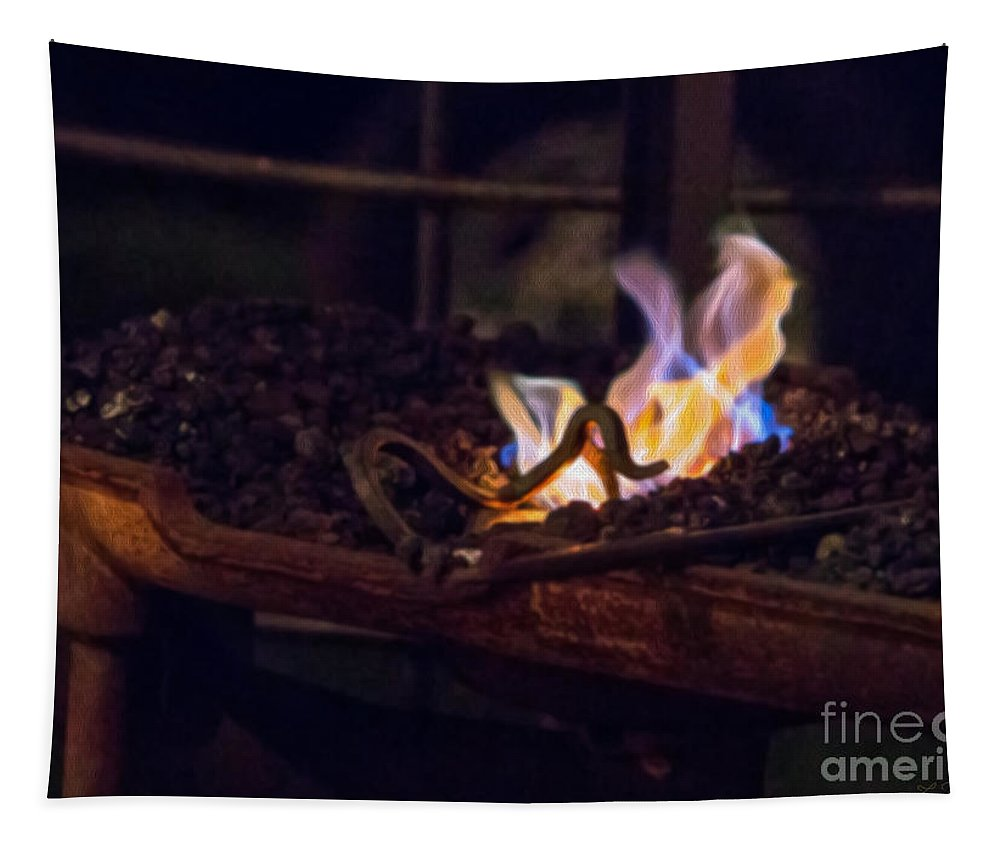Coal On The Fire Tapestry featuring the photograph Iron In Fire Oiltreatment by Iris Richardson