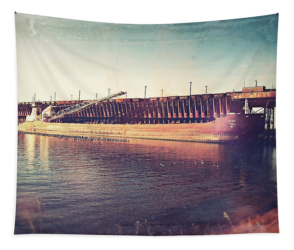Iron Ore Freighter Tapestry featuring the digital art Iron Ore Freighter In Dock by Phil Perkins