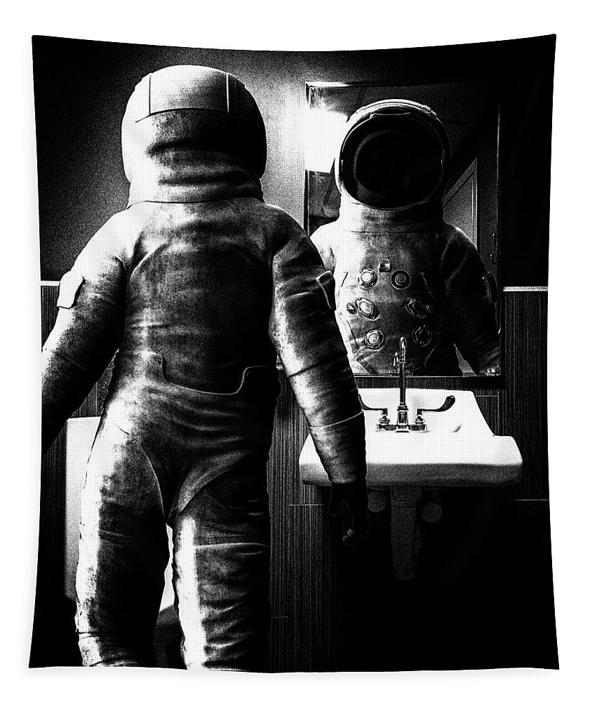 Astronaut Tapestry featuring the photograph The Astronaut And The Bathroom by Bob Orsillo