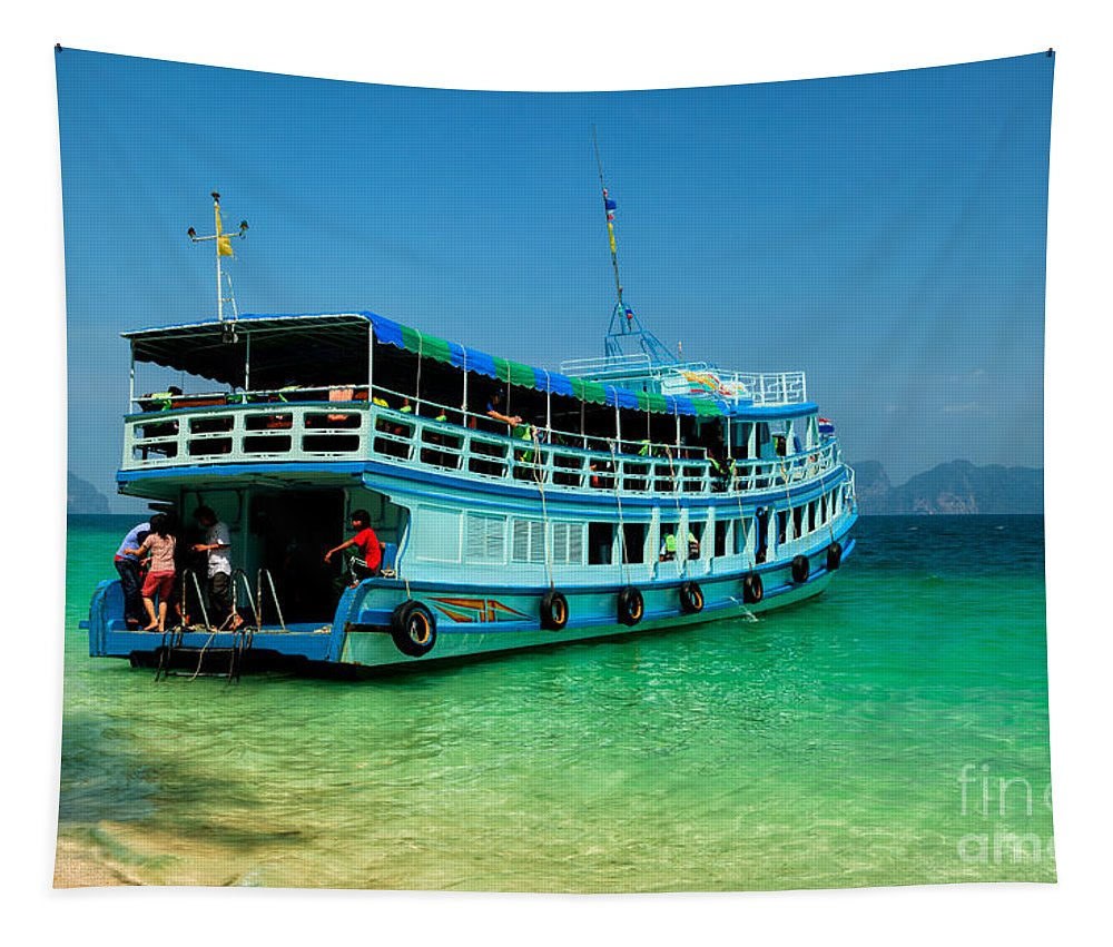 Asia Tapestry featuring the photograph Island Ferry by Adrian Evans