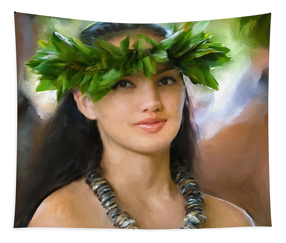Island Girl Tapestry featuring the painting Island Girl by Dominic Piperata