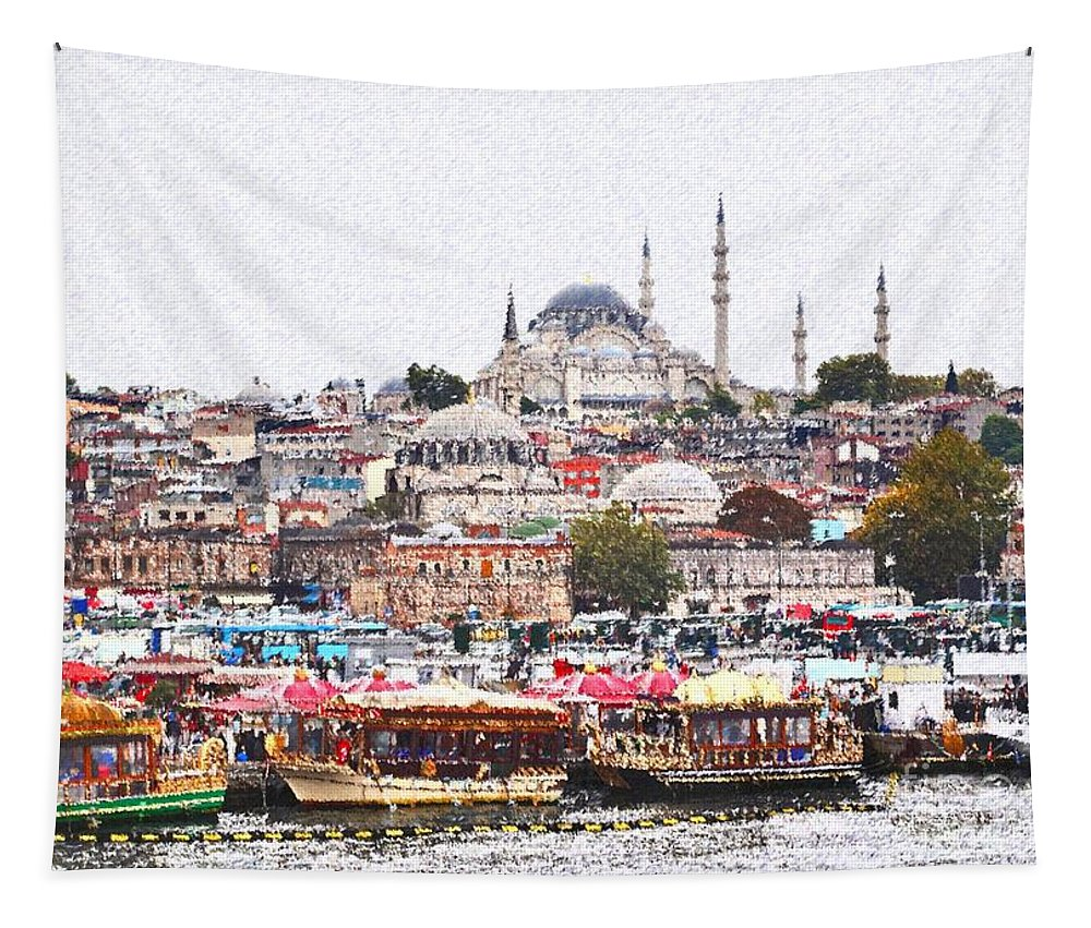 Istanbul Tapestry featuring the digital art Istanbul by Dia Karanouh