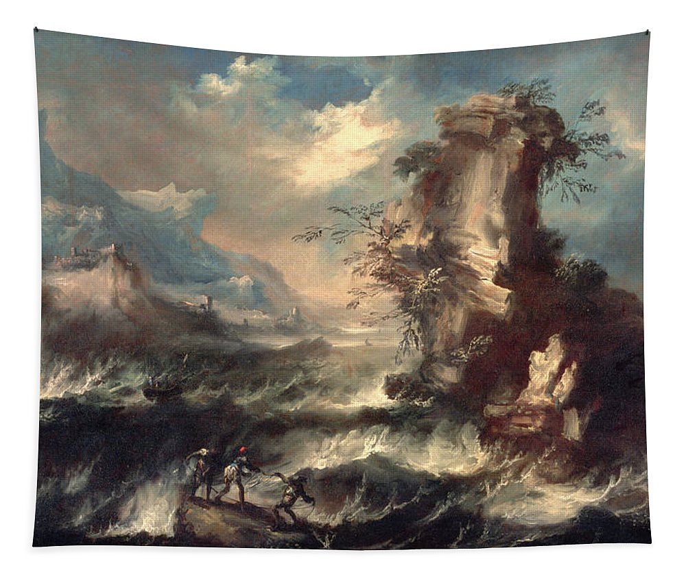 Cliff Tapestry featuring the painting Italian Seascape With Rocks And Figures by Marco Ricci
