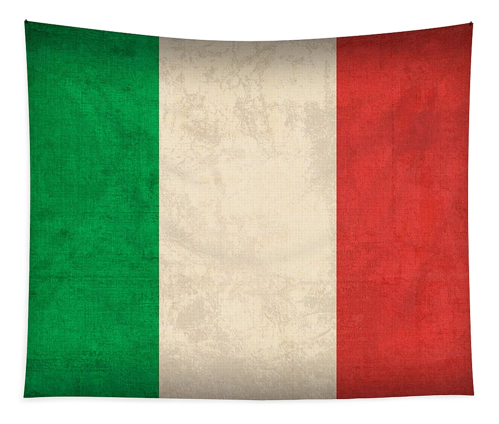 Italy Flag Vintage Distressed Finish Rome Italian Europe Venice Tapestry featuring the mixed media Italy Flag Vintage Distressed Finish by Design Turnpike