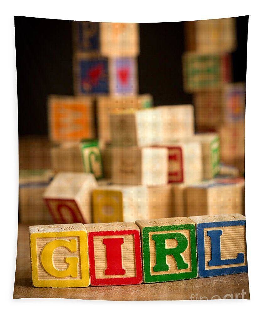 Abcs Tapestry featuring the photograph Its A Girl - Alphabet Blocks by Edward Fielding