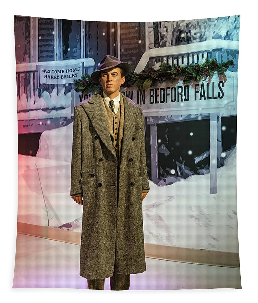 Jimmy Stewart Tapestry featuring the photograph It's A Wonderful Life by Mountain Dreams