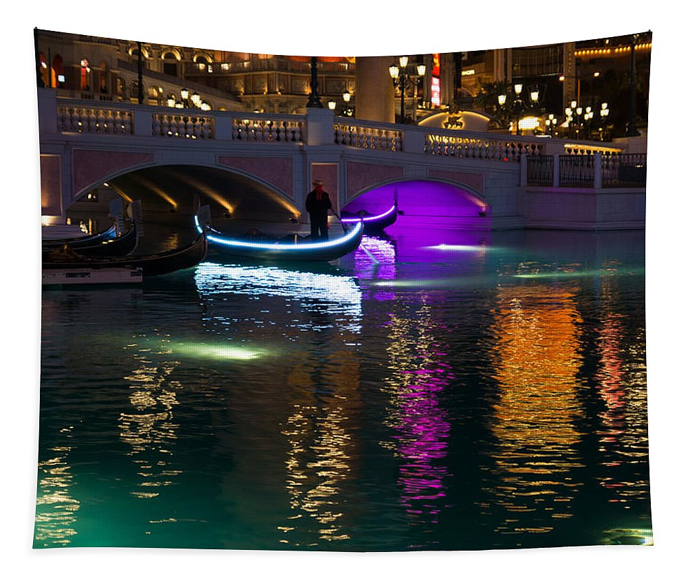 Venetian Tapestry featuring the photograph It's Not Venice - Brilliant Lights Glamorous Gondolas And The Magic Of Las Vegas At Night by Georgia Mizuleva