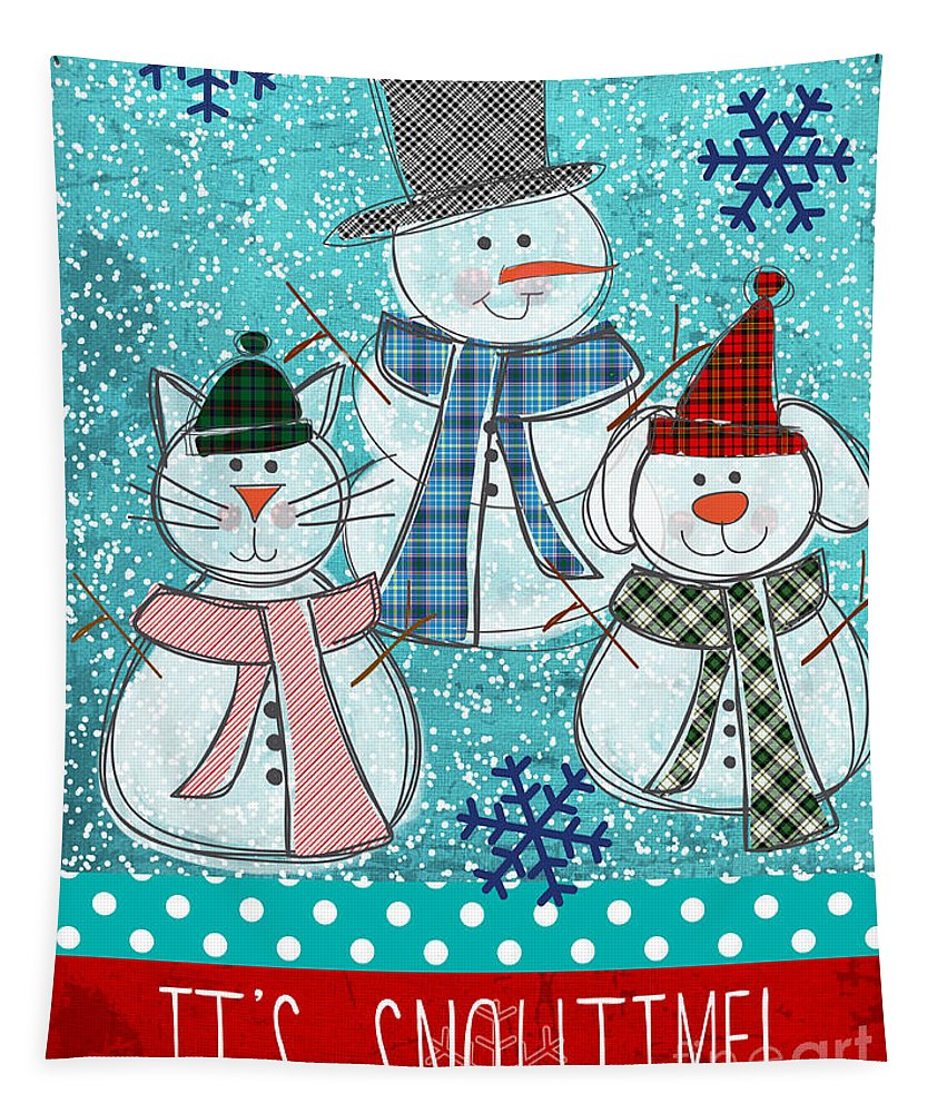 Snowman Tapestry featuring the painting It's Snowtime by Linda Woods