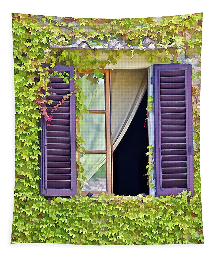 Art Tapestry featuring the photograph Ivy Covered Window Of Tuscany by David Letts