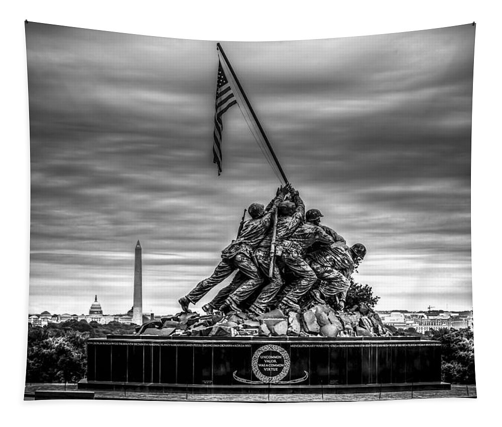 Iwo Jima Monument Tapestry featuring the photograph Iwo Jima Monument Black And White by David Morefield