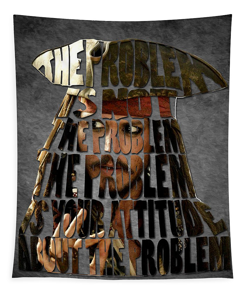 Jack Sparrow Quote Tapestry featuring the painting Jack Sparrow Quote Portrait Typography Artwork by Georgeta Blanaru