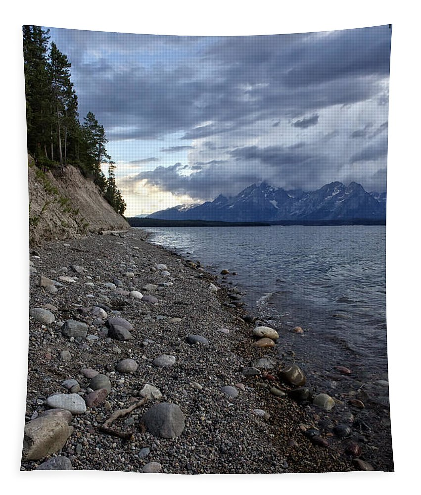 Lake Tapestry featuring the photograph Jackson Lake Shore With Grand Tetons by Belinda Greb
