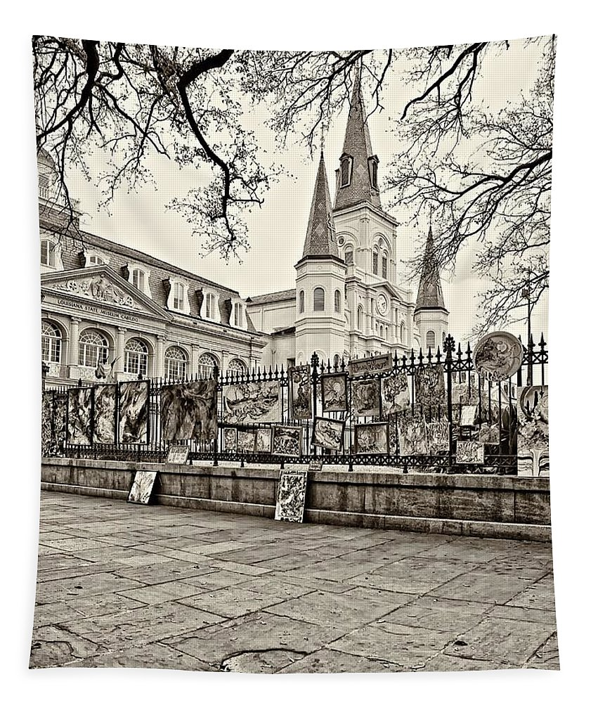 French Quarter Tapestry featuring the photograph Jackson Square Winter Sepia by Steve Harrington