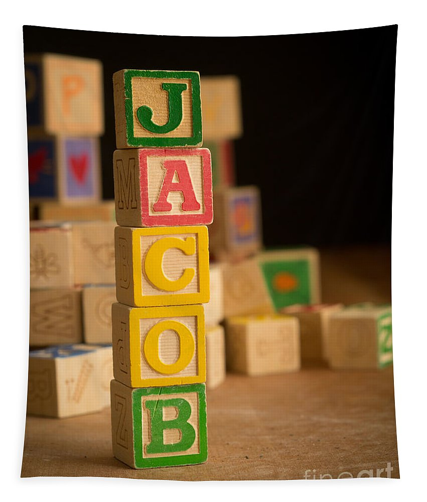 Alphabet Tapestry featuring the photograph Jacob - Alphabet Blocks by Edward Fielding