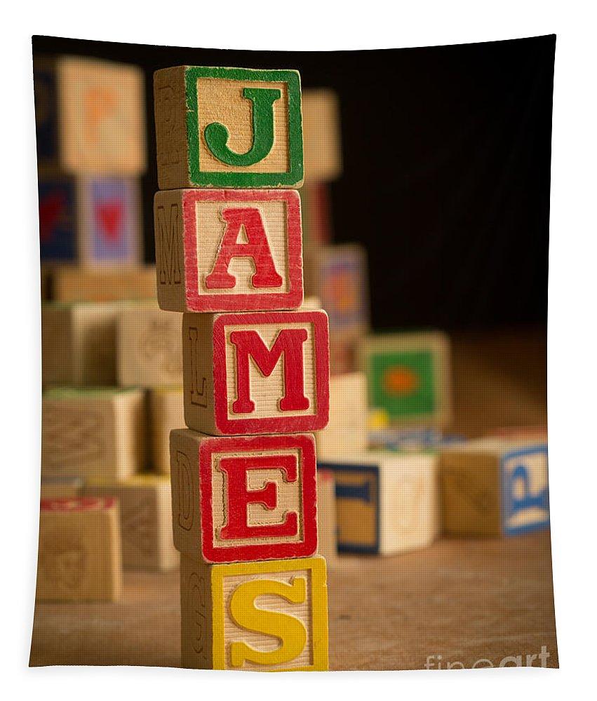 Alphabet Tapestry featuring the photograph James - Alphabet Blocks by Edward Fielding