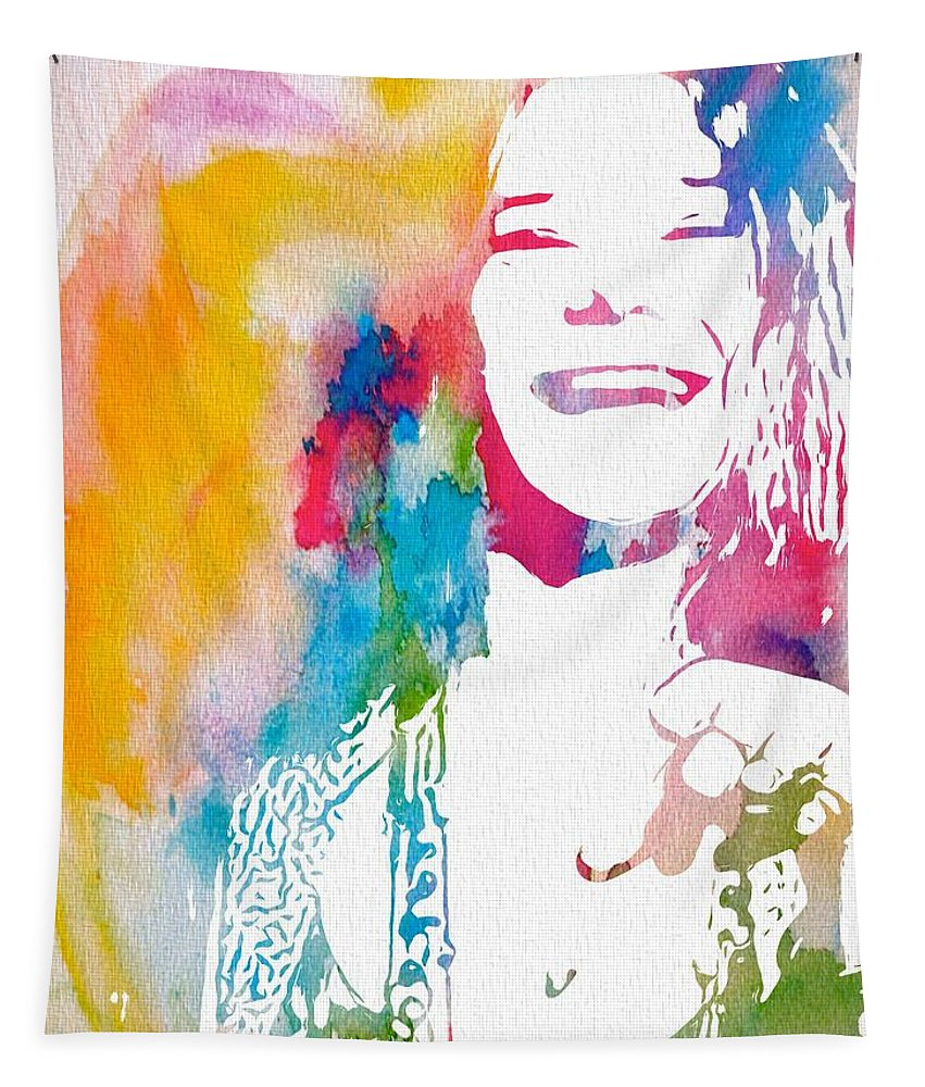 Janis Joplin Watercolor Tapestry featuring the digital art Janis Joplin Watercolor by Dan Sproul