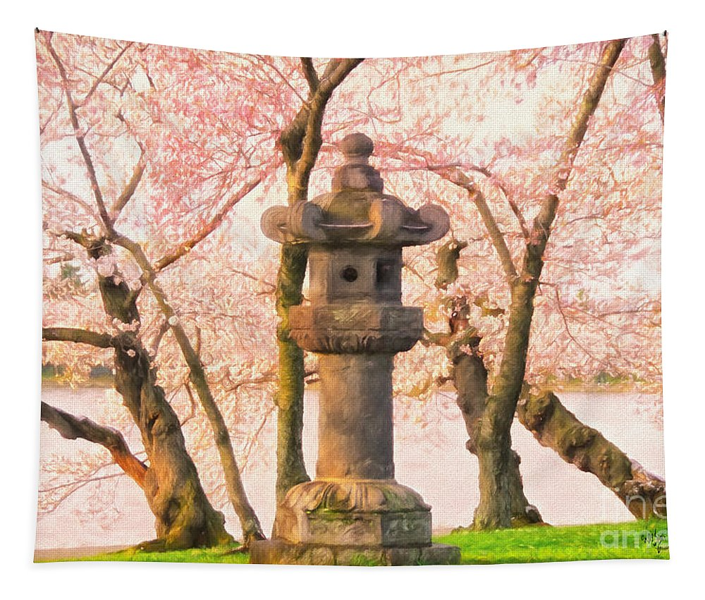 Statue Tapestry featuring the photograph Japanese Stone Lantern by Lois Bryan