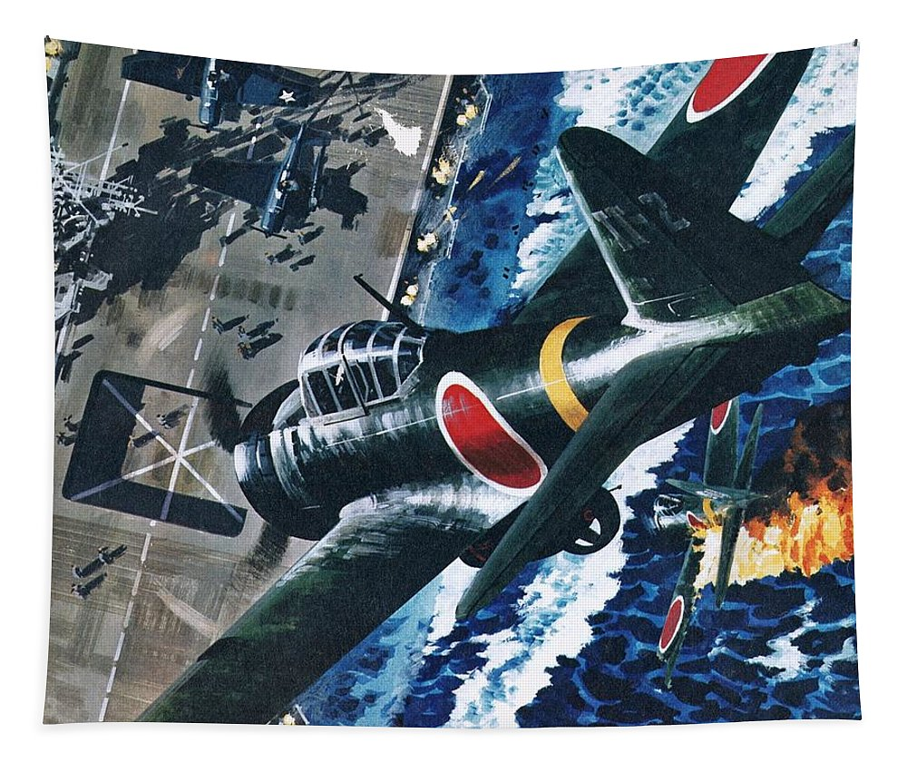 Japanese Tapestry featuring the painting Japanese Suicide Attack On American by Wilf Hardy