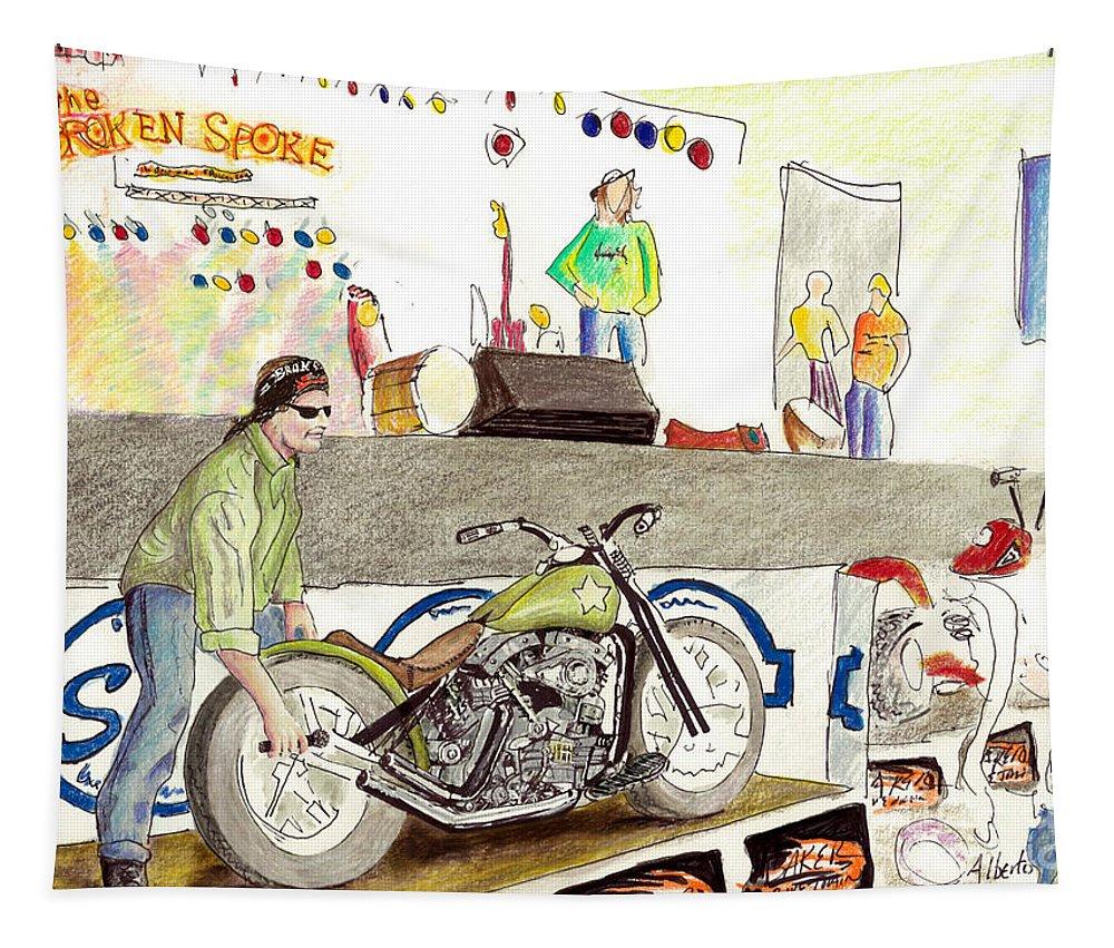Jay Allen Tapestry featuring the painting Jay Allen At The Broken Spoke Saloon by Albert Puskaric