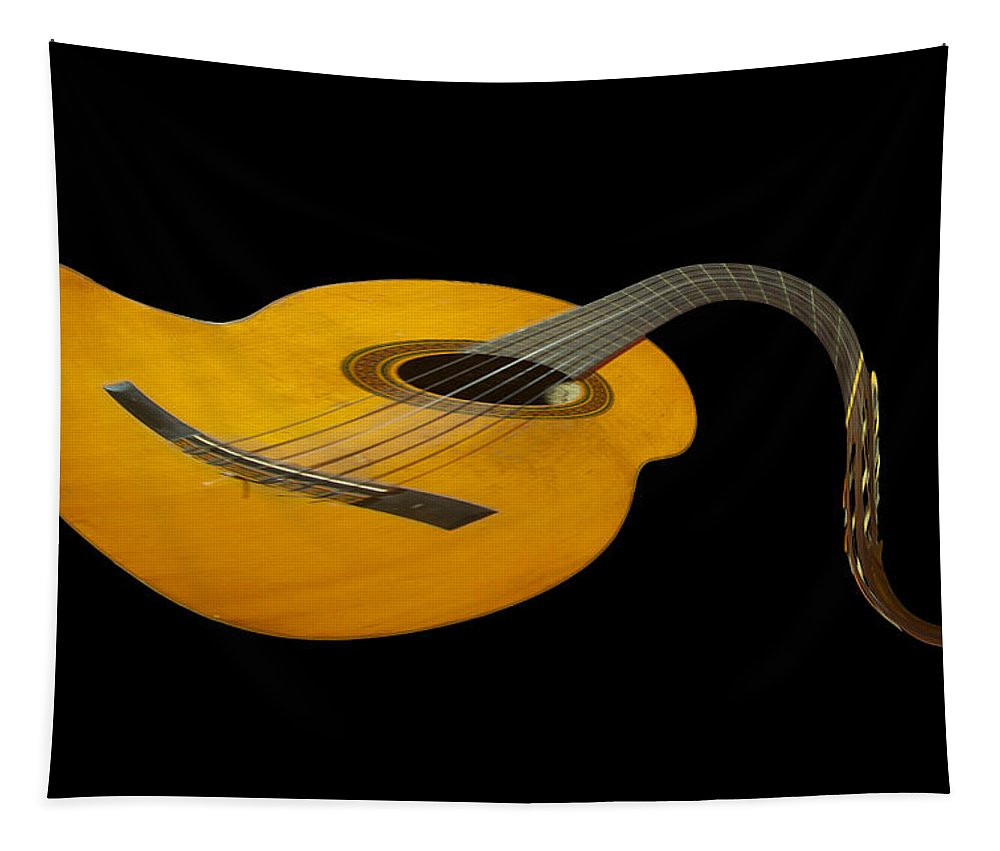 Folk Tapestry featuring the photograph Jazz Guitar 2 by Debra and Dave Vanderlaan